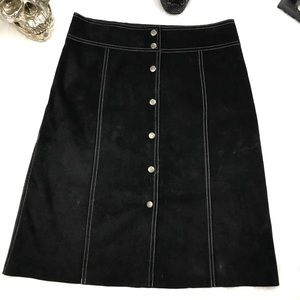 Black leather button down a line skirt